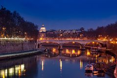 Jetty on the river Tiber stock photography