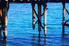 Jetty Ruins at Rapid Bay. The crumbling remains of the old jetty at Rapid Bay, a popular diving site in South Australia Royalty Free Stock Photo