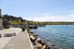 Jetty's view of the Bracciano lake Royalty Free Stock Photography