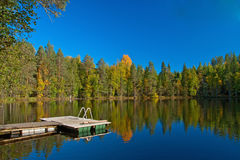 Jetty from sauna to lake in Finland Royalty Free Stock Photos