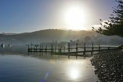 Jetty and scenic bays of Akaroa. Banks Peninsula in New Zealand Stock Photography