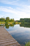 Jetty at scenic lake royalty free stock images