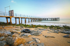 Jetty with sea , HDR Style Royalty Free Stock Image