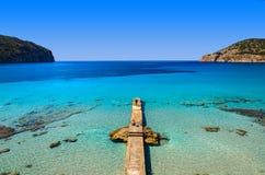 Jetty sea horizon beach bay mountains. Camp de Mar, Majorca island, Spain Stock Photography