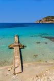 Jetty sea horizon beach bay mountains. Camp de Mar, Majorca island, Spain Stock Photos