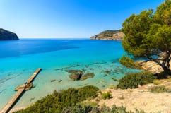 Jetty sea horizon beach bay mountains. Camp de Mar, Majorca island, Spain Royalty Free Stock Photos