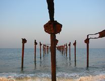 Jetty into Sea - Iron Structure with Parallax Phenomenon Stock Photography