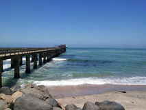 Jetty into  sea. This  is  a  photo  of  the  well  known  jetty  in  Swakopmund  Namibia Stock Image