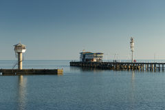 The jetty by the sea. The pier in the city of Sukhumi on the coast Royalty Free Stock Photos