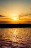 Jetty And Seagulls In The Sunset Royalty Free Stock Photos
