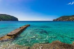 Jetty at seaside of bay Camp de Mar on Mallorca island, Spain. Idyllic island scenery, coast bay of Camp de Mar on Majorca, Spain Balearic islands Stock Image