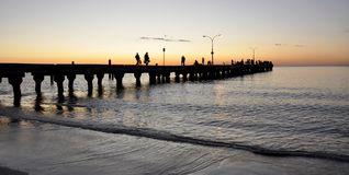 Jetty Silhouette at Coogee Beach Sunset, Western Australia Stock Photo