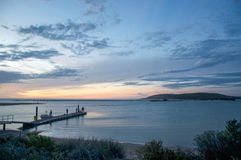Jetty Silhouettes on the Murchison River royalty free stock photography
