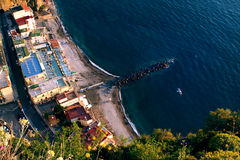 Jetty from sky. Jetty from the high cliff high vantage view in Sorrento peninsula in Italy Stock Image