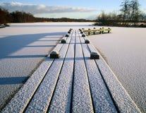 Jetty Snow Lake Stock Photos