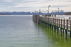 Jetty at Starnberger See Lake in Bavaria Stock Photography