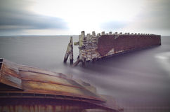 Jetty in storm Royalty Free Stock Photo