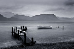 Jetty by stormy lake Stock Images