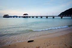 Jetty on a sunny tropical day. At Tioman Island, Pahang, Malaysia Stock Image