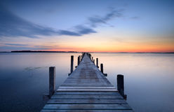 Jetty. At sunset in a fjord Royalty Free Stock Images