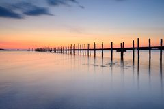 Jetty at sunset. From a lowl angle Royalty Free Stock Photos