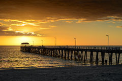 Jetty and sunset Royalty Free Stock Image