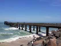 Jetty in  Swakopmund. This   jetty into  the  Atlantic  ocean was  photographed   in  Swakopmund,Namibia Stock Images