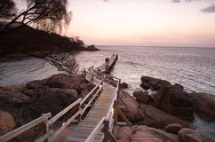 Jetty. Timber Jetty extending out into the water viewed at sunset, Freycinet National Park, Tasmania, Australia Royalty Free Stock Photography
