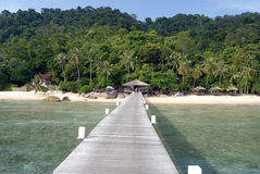Jetty on Tioman Island, Malaysia. Exotic beach in South-East Asia Royalty Free Stock Image