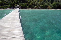 Jetty on Tioman Island, Malaysia. Exotic beach in South-East Asia Stock Images