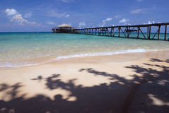 Jetty on Tioman Island, Malaysia. Exotic beach in South-East Asia Stock Photography