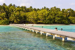 Jetty to a little tropical island. In the turquoise indian ocean, maldives, way to a travel destination Stock Image