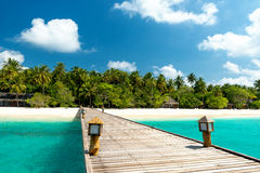 Jetty to paradise beach. On the maldives Stock Image