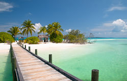 Jetty to a tropical beach. On the maldives Royalty Free Stock Photography