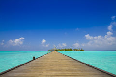 Jetty to tropical island. With palm trees and blue sly; Maldives Royalty Free Stock Images