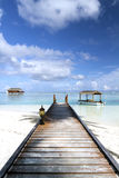 Jetty to water villa. In Maldives Royalty Free Stock Photo