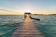 Jetty with tourist at sunrise Stock Photos