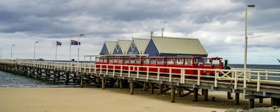 Jetty, Train and Shops royalty free stock photography