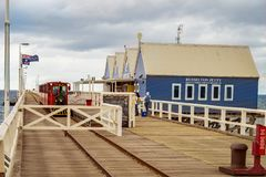 Jetty, Train and Shops stock images