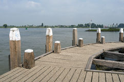 Jetty in the Waal. Royalty Free Stock Photography