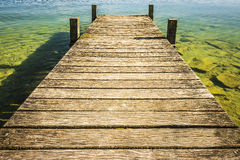 Jetty of weathered wood Royalty Free Stock Image