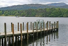 Jetty into Windermere. Wooden jetty leading to Windermere in the English Lake District Royalty Free Stock Images