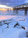 Jetty during the winter stock images
