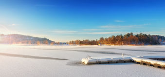 Jetty in a winter landscape Stock Image