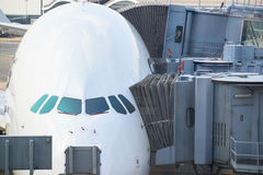Jetway bridges and airplane waiting boarding Royalty Free Stock Photo