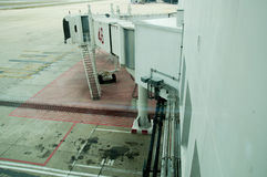 Jetway waiting for a plane to arrive. On airport Stock Image