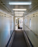 Jetway, walking towards the plane, selective focus Stock Photo