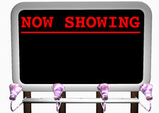 Jetzt darstellende Anschlagtafel Lizenzfreies Stockfoto