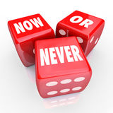 Jetzt oder nie drei 3 Red Dice Act Limited Angebot-Gelegenheit Lizenzfreie Stockbilder