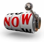 Jetzt Spielautomat-Wort-dringendes Bedürfnis-Notkritische Nachfrage Lizenzfreie Stockfotos